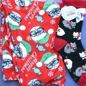 0f0fe5bf8d4ebf NWT Ugly Christmas Cat Leggings and Slipper Socks